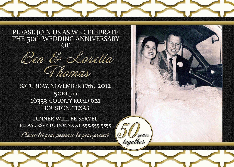 50th Anniversary Invitations Templates Lovely Custom Gold Black and Ivory 50th Anniversary Invitation