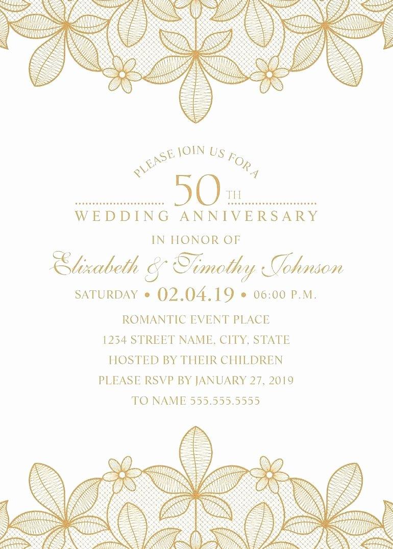 50th Anniversary Invitations Templates Luxury Golden Lace 50th Wedding Anniversary Invitations Elegant