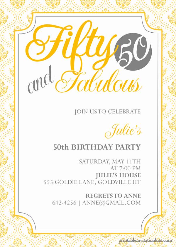 50th Anniversary Invitations Templates New Fifty and Fabulous – 50th Birthday Invitation ← Wedding