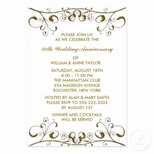 50th Anniversary Invitations Templates New Gold Swirls 50th Wedding Anniversary Invitations