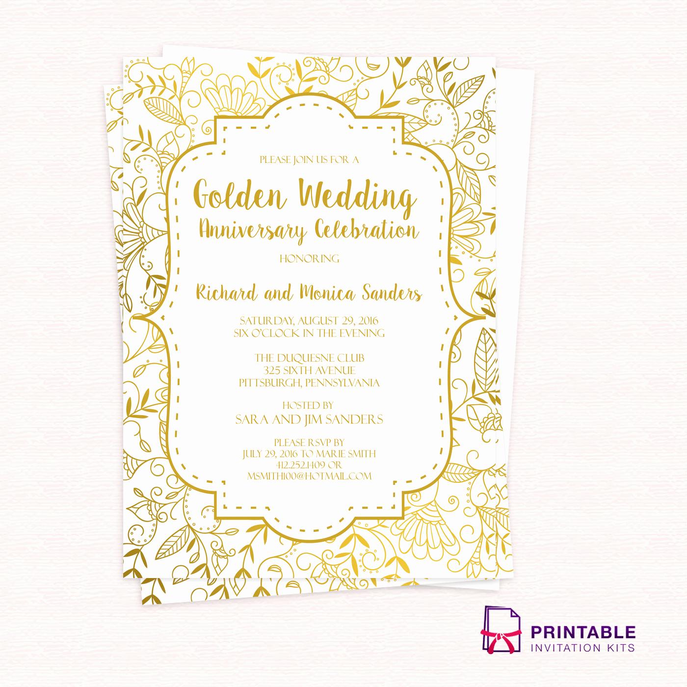 50th Anniversary Invitations Templates Unique Golden Wedding Anniversary Invitation Template ← Wedding