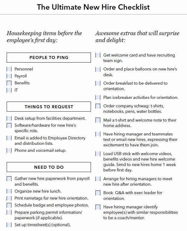 90 Day Onboarding Plan Template Inspirational New Hire Onboarding Checklist Boarding