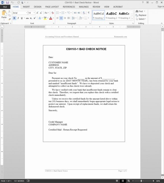 Accounting Policies and Procedures Template Awesome Csh103 1 Bad Check Notice Template