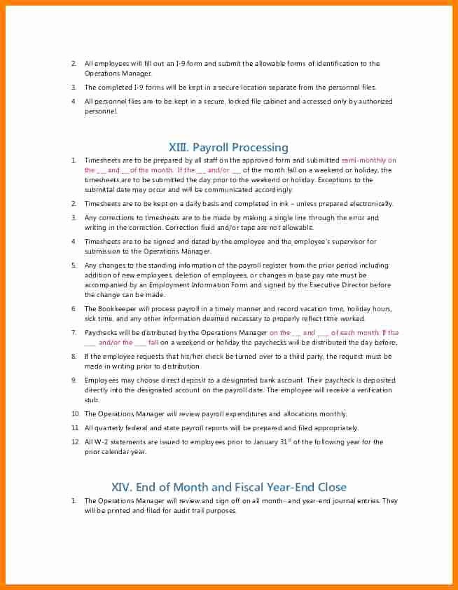 Accounting Policies and Procedures Template Best Of 10 Payroll Policy and Procedure Template