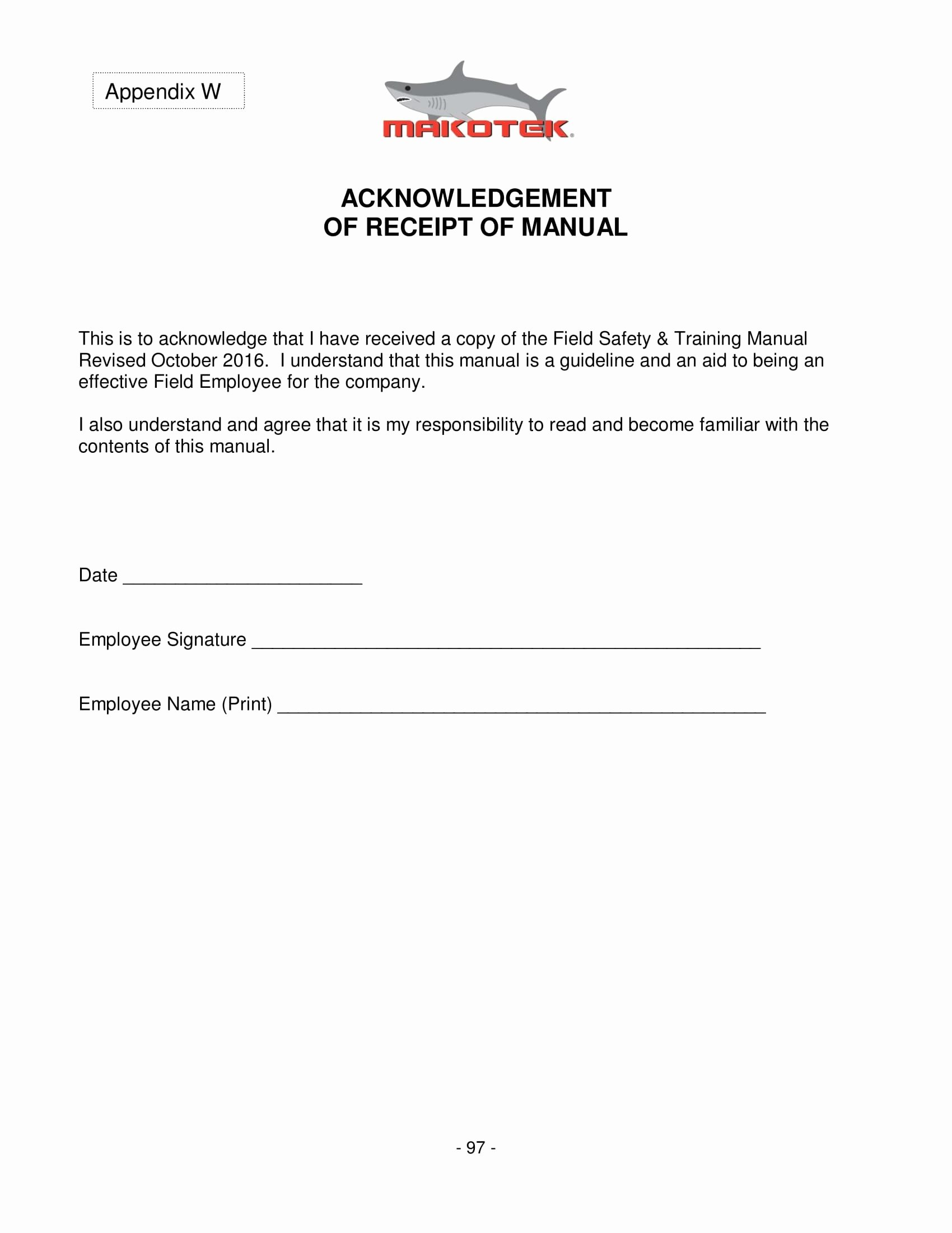 Acknowledgement Of Receipt form Template Awesome Free 5 Employee Manual Acknowledgment forms Doc
