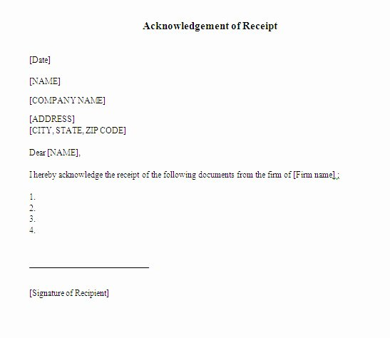 Acknowledgement Of Receipt form Template Beautiful Acknowledgement Receipt Sample