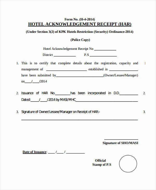 Acknowledgement Of Receipt form Template Beautiful Acknowledgement Receipt Template 11 Free Word Pdf