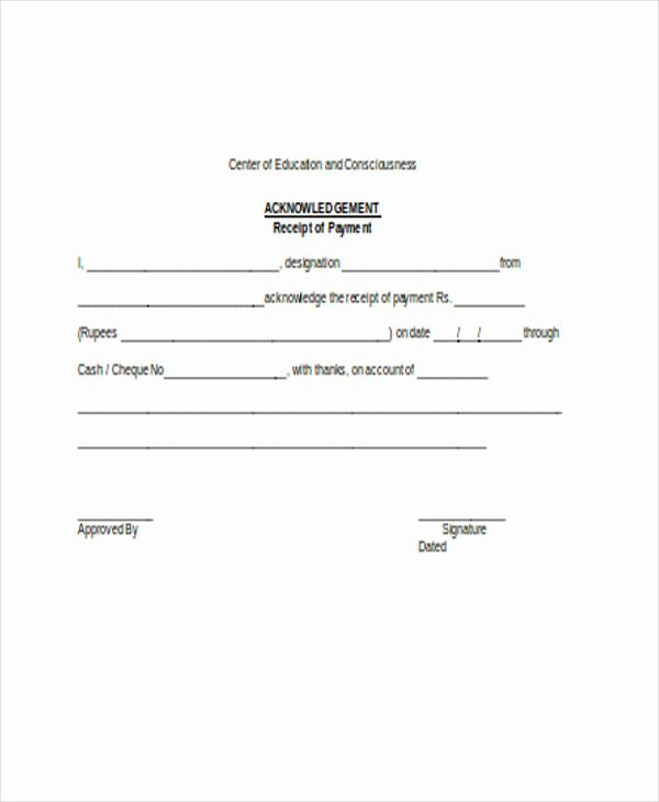 Acknowledgement Of Receipt form Template Beautiful Free 24 Receipt forms In Word
