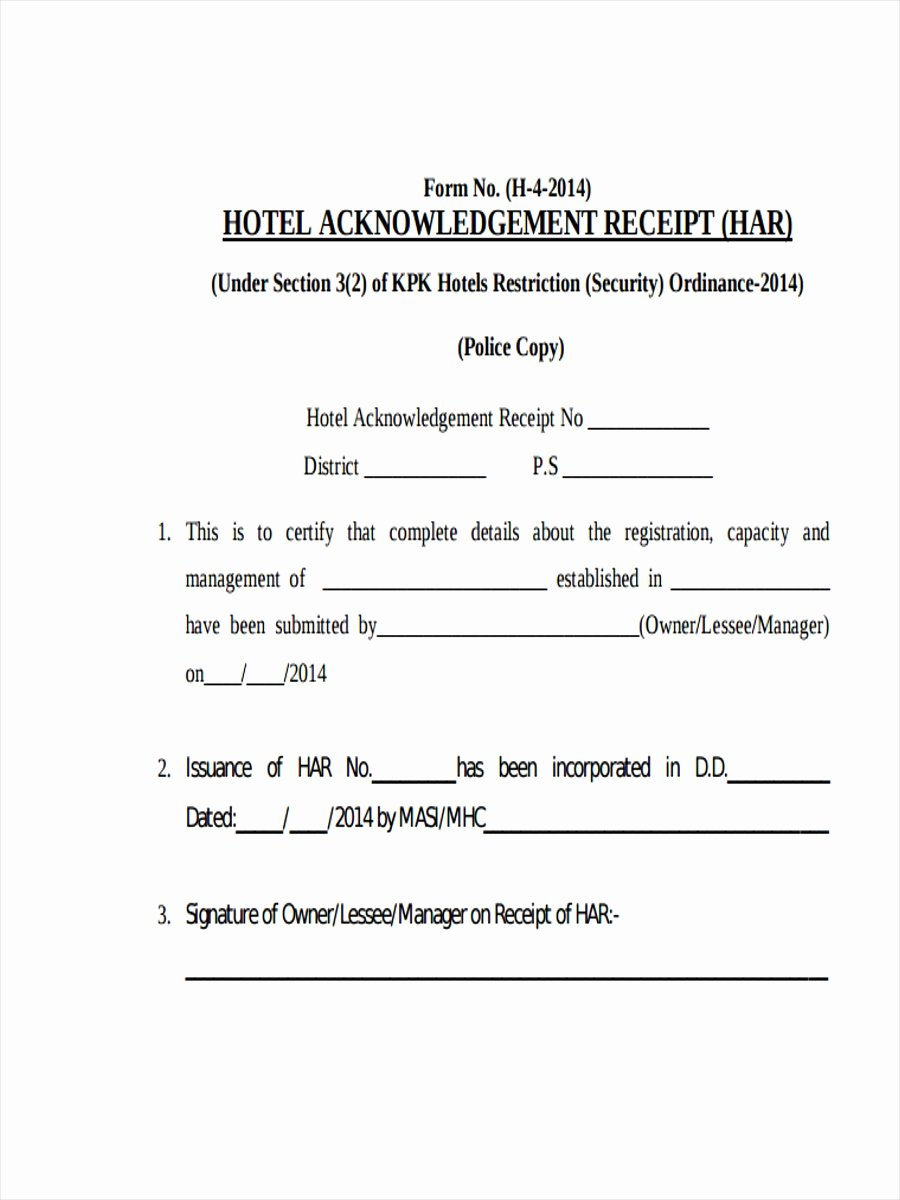 Acknowledgement Of Receipt form Template Best Of Well Designed Template and Samples for Creating