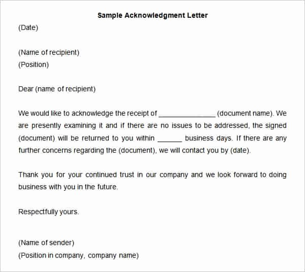 Acknowledgement Of Receipt form Template Fresh 38 Acknowledgement Letter Templates Pdf Doc