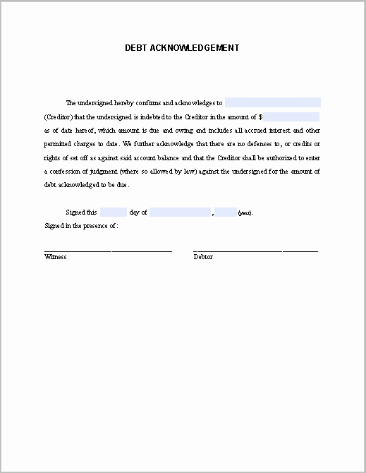 Acknowledgement Of Receipt form Template Fresh Debt Acknowledgement Letter Free Fillable Pdf forms