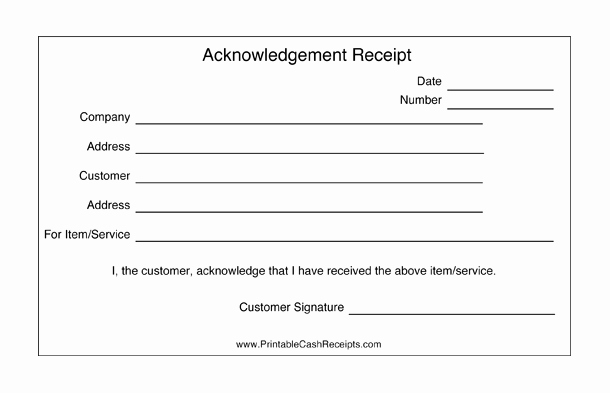 Acknowledgement Of Receipt form Template Fresh these Acknowledgement Receipts are Basic Templates that