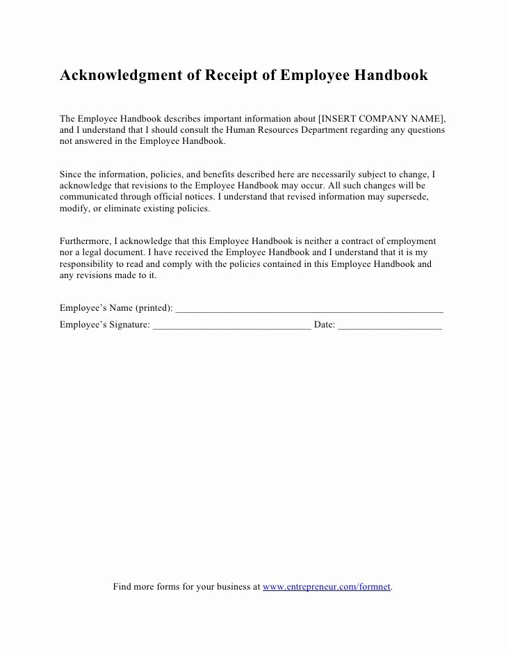 Acknowledgement Of Receipt form Template Inspirational Acknowledgment Of Receipt Of Employee Handbook