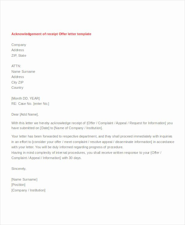 Acknowledgement Of Receipt form Template Luxury Letter Of Acknowledgement Of Receipt Of Goods Sample Of