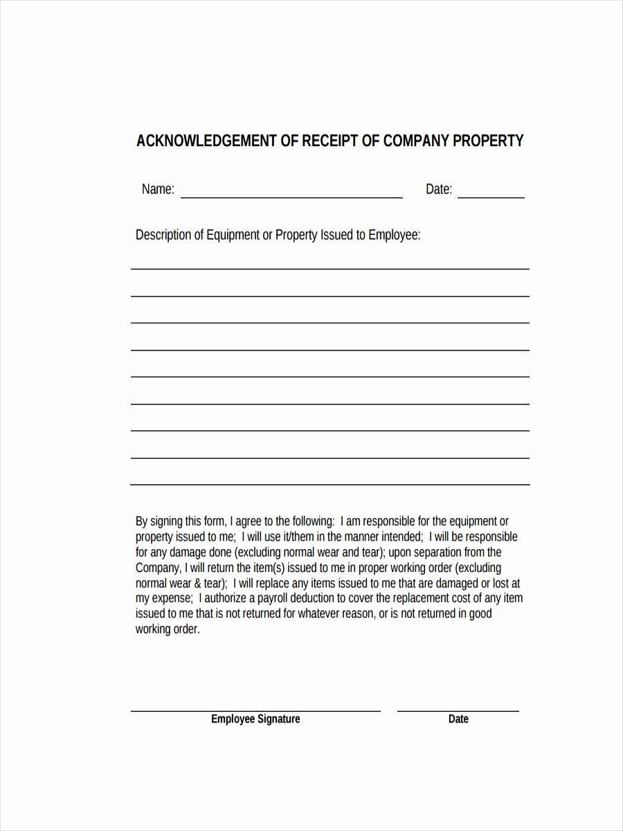 Acknowledgement Of Receipt form Template Unique Free 32 Sample Receipt Examples In Pdf Doc