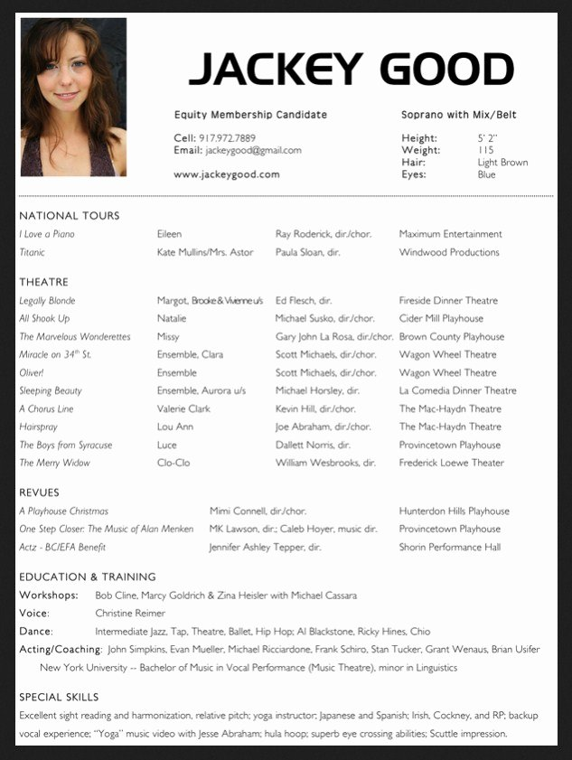 Acting Resume Template Word Awesome 10 Acting Resume Template for Microsoft Word