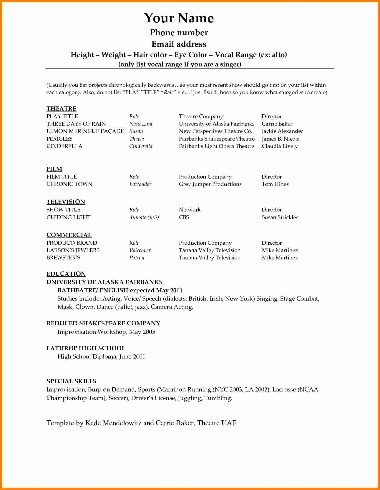Acting Resume Template Word Best Of 6 Acting Resume Template Word