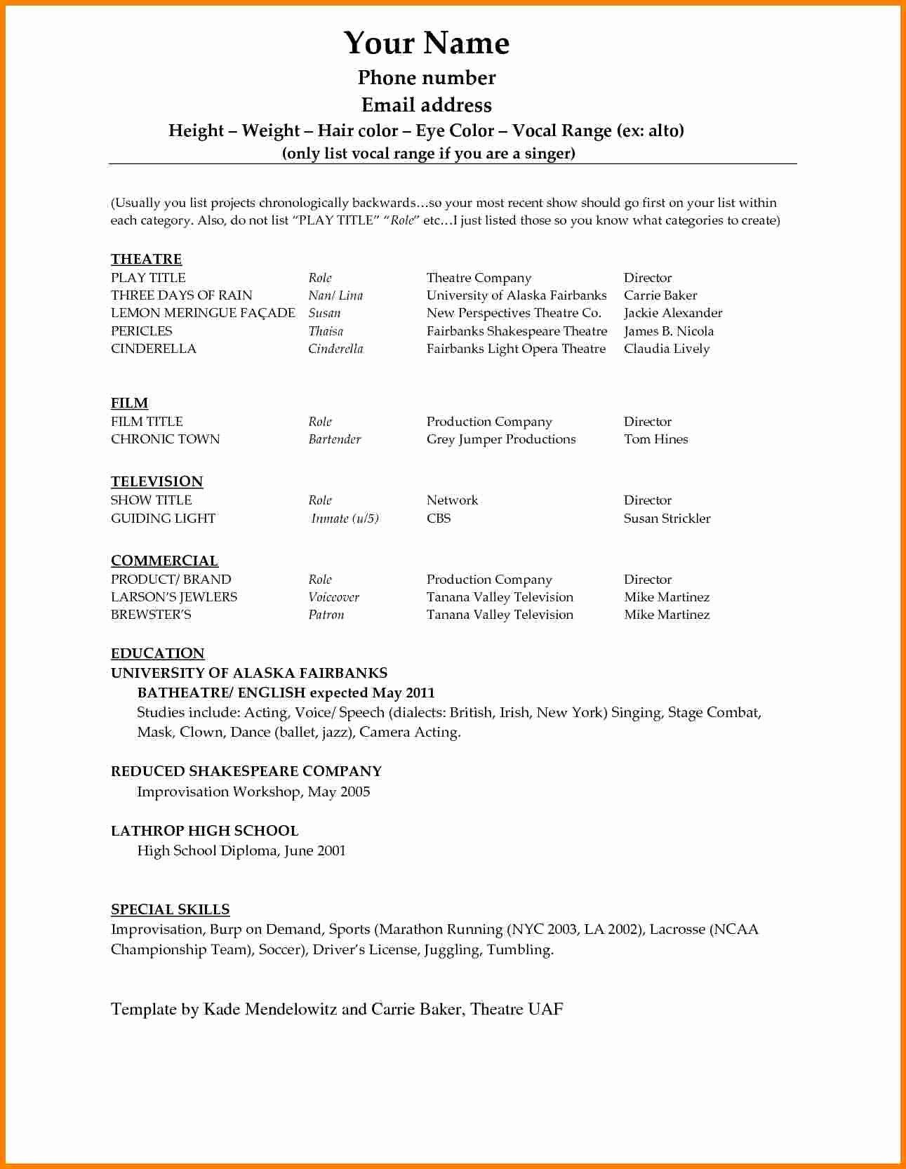 Acting Resume Template Word Best Of 6 Acting Resume Template Word