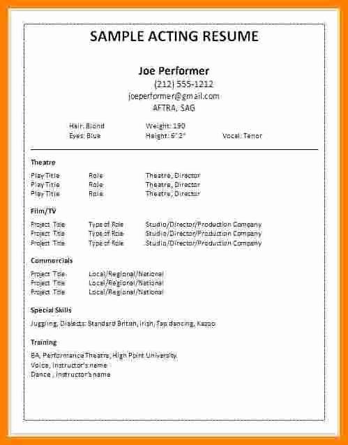 Acting Resume Template Word Elegant 5 Actors Invoice Template