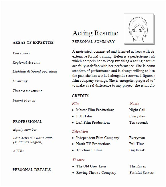 Acting Resume Template Word Elegant 7 Acting Resume Samples Examples Templates