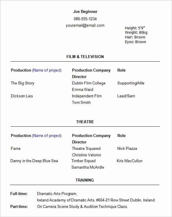 Acting Resume Template Word Elegant Acting Resume Templates Free formats Excel Word