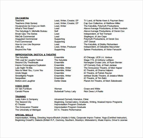 Acting Resume Template Word Elegant Free 18 Useful Sample Acting Resume Templates In Pdf