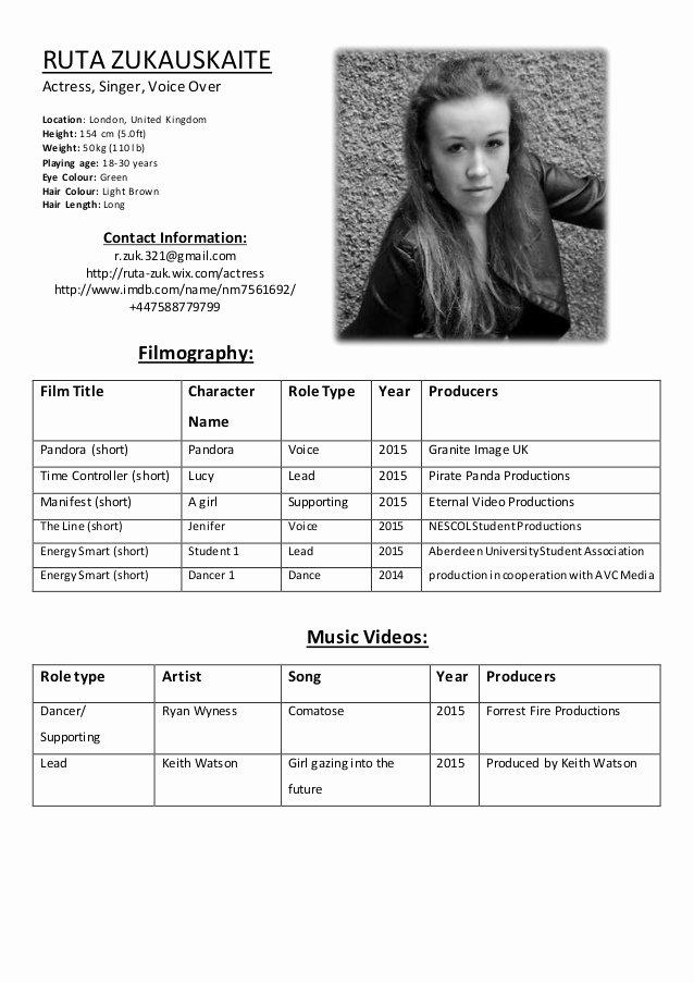 Acting Resume Template Word Elegant Ruta Zukauskaite Acting Resume