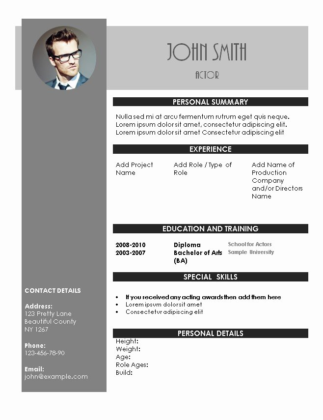 Acting Resume Template Word Fresh Acting Resume Template