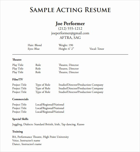 Acting Resume Template Word Fresh Free 18 Useful Sample Acting Resume Templates In Pdf