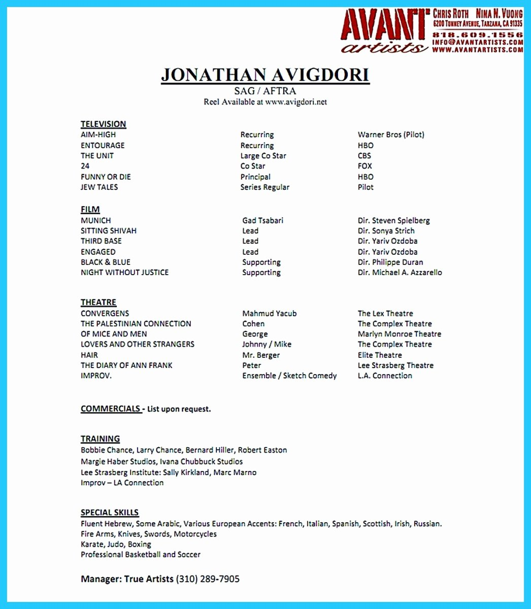 Acting Resume Template Word Inspirational Amazing Actor Resume Samples to Achieve Your Dream