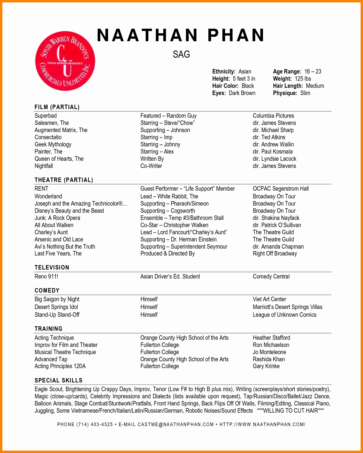 Acting Resume Template Word Lovely 6 Acting Resume Template Word