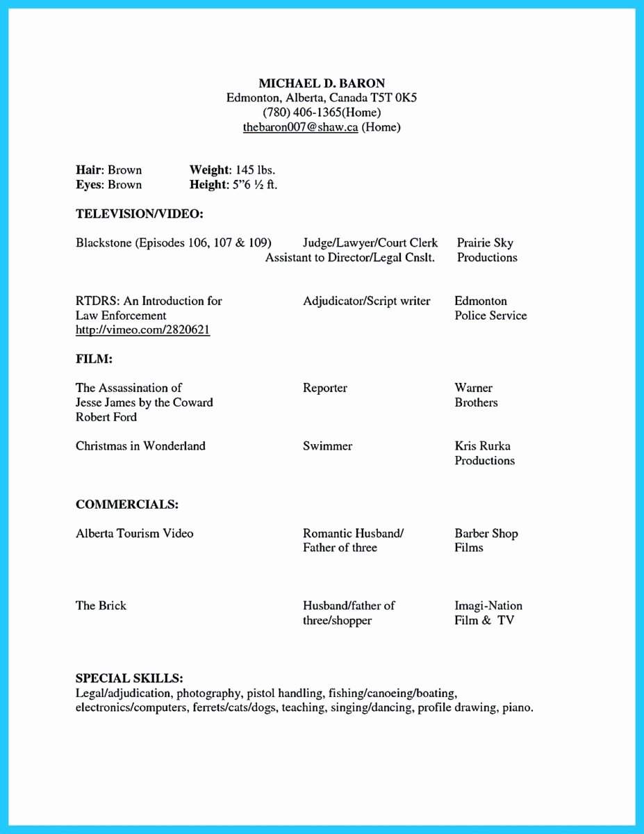 Acting Resume Template Word Lovely Brilliant Acting Resume Template to Get Inspired