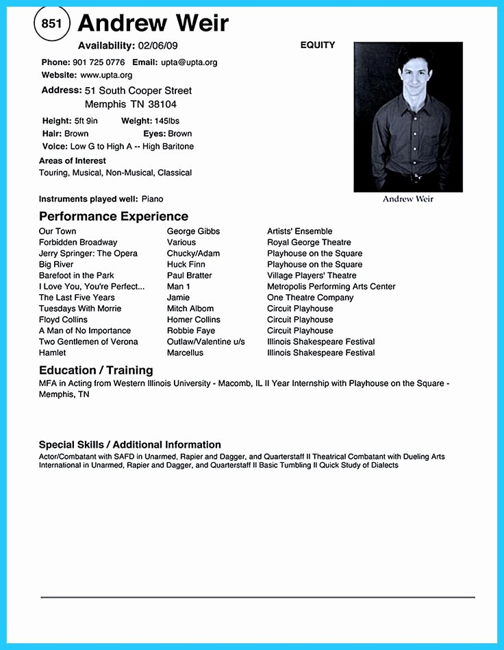 Acting Resume Template Word New 594 Best Resume Samples Images On Pinterest
