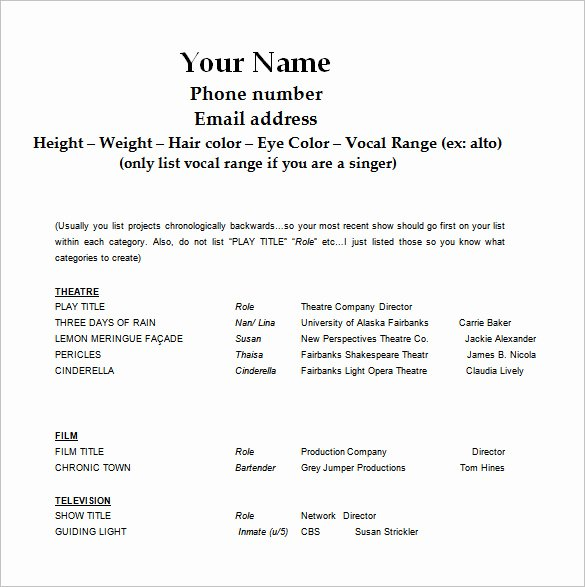 Acting Resume Template Word New Acting Resume Template 7 Free Word Excel Pdf format