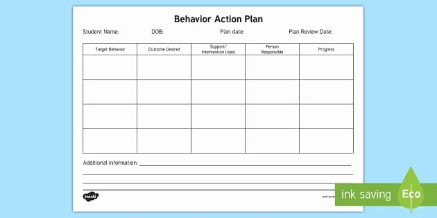 Action Plan Template for Students Elegant Behavior Action Plan form Behavior Intervention Plan