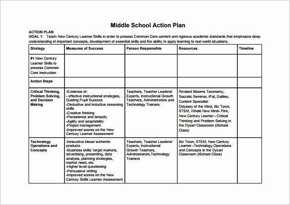 Action Plan Template for Students Luxury 12 School Action Plan Templates Word Pdf