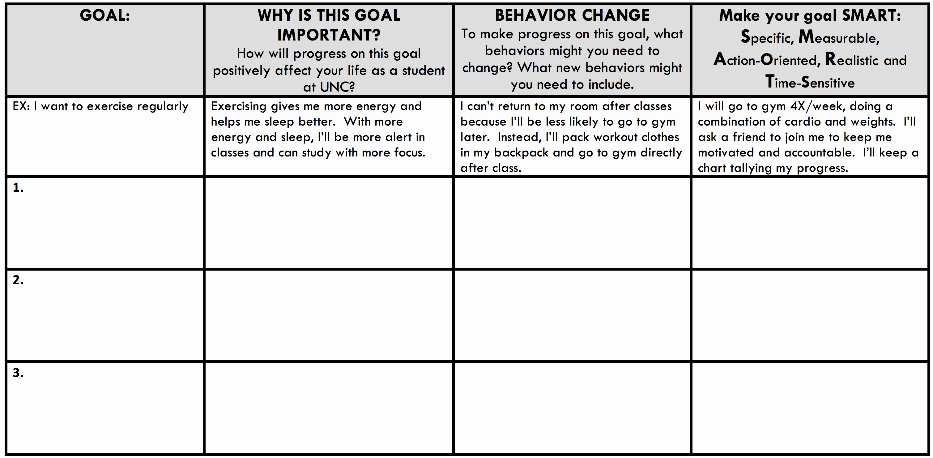 Action Plan Template for Students New Semester Action Plan Learning Center