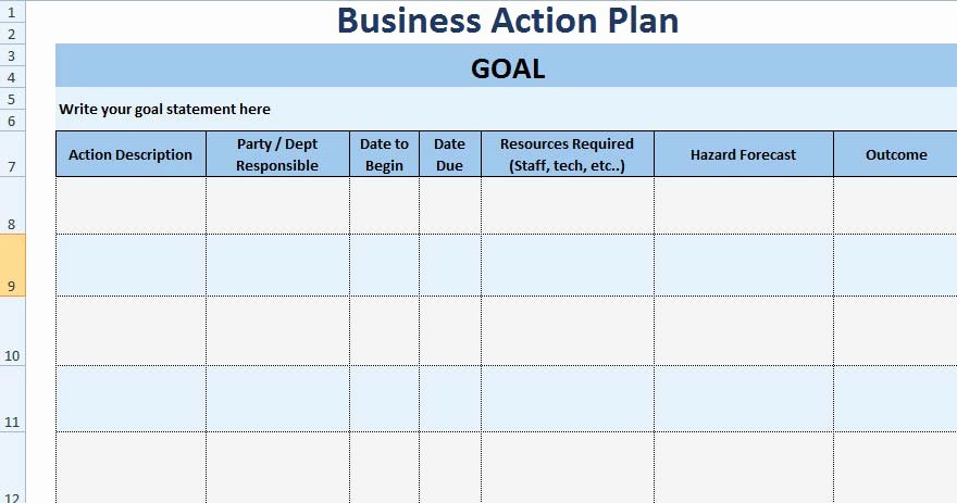 Action Plan Templates Excel Inspirational 3 Free Project Action Plan Template Xls Free Excel