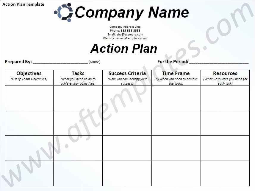 Action Planning Template Excel Fresh Free Business Action Plan Template
