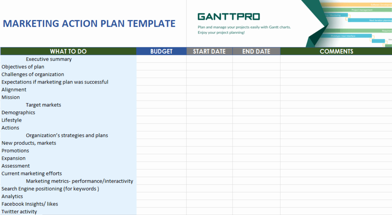 Action Planning Template Excel Unique Marketing Action Plan Template Free Download