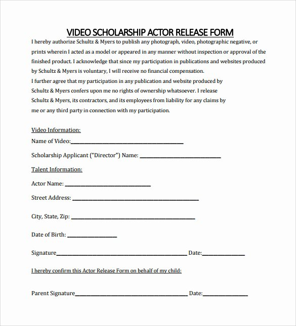 Actor Release form Template Best Of Sample Actor Release form 10 Download Free Documents In