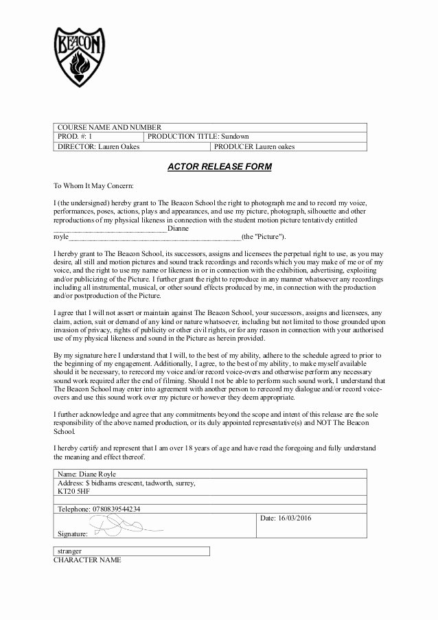Actor Release form Template Elegant as Actor Release form Copy