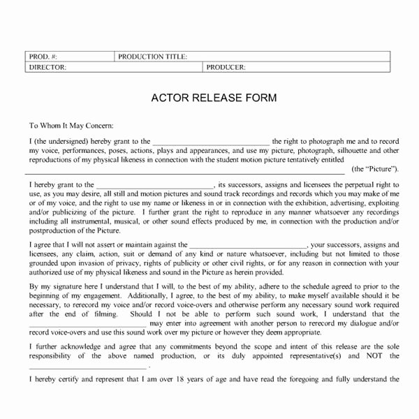 Actor Release form Template Elegant Student Production forms What Types Of forms and