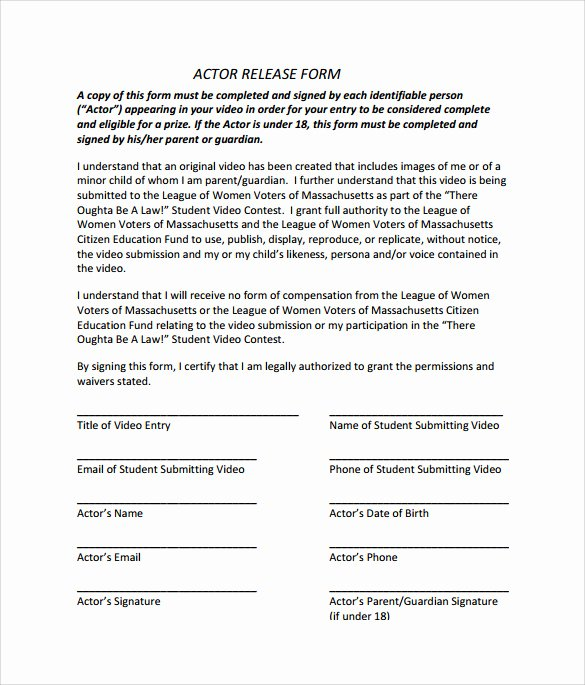 Actor Release form Template Inspirational Sample Actor Release form 10 Download Free Documents In