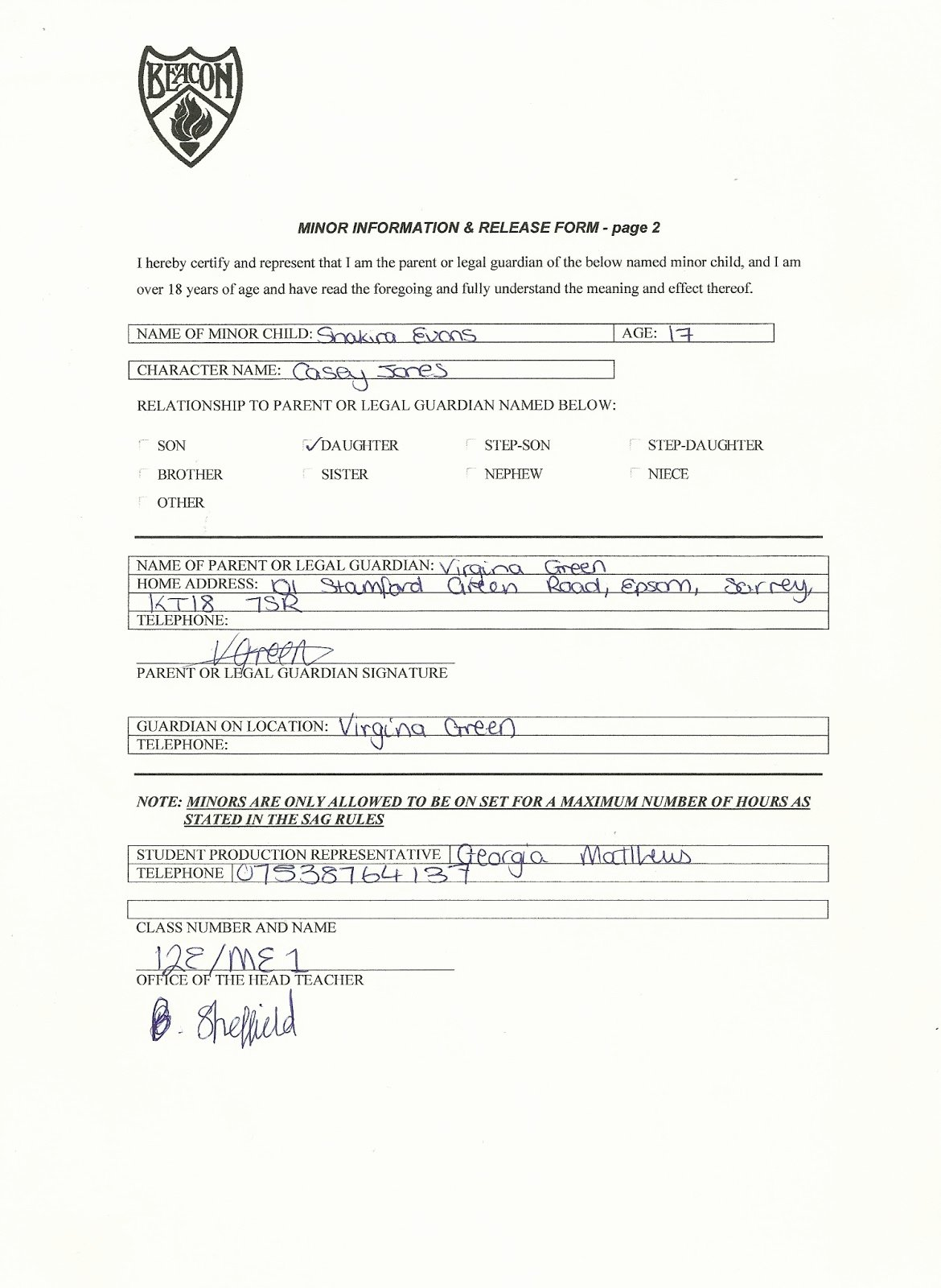 Actor Release form Template Lovely Minor Actor Release form Shakira Evans