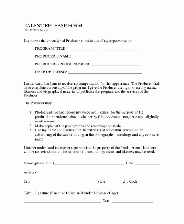 Actor Release form Template Lovely Sample Talent Release form 10 Free Documents In Word Pdf