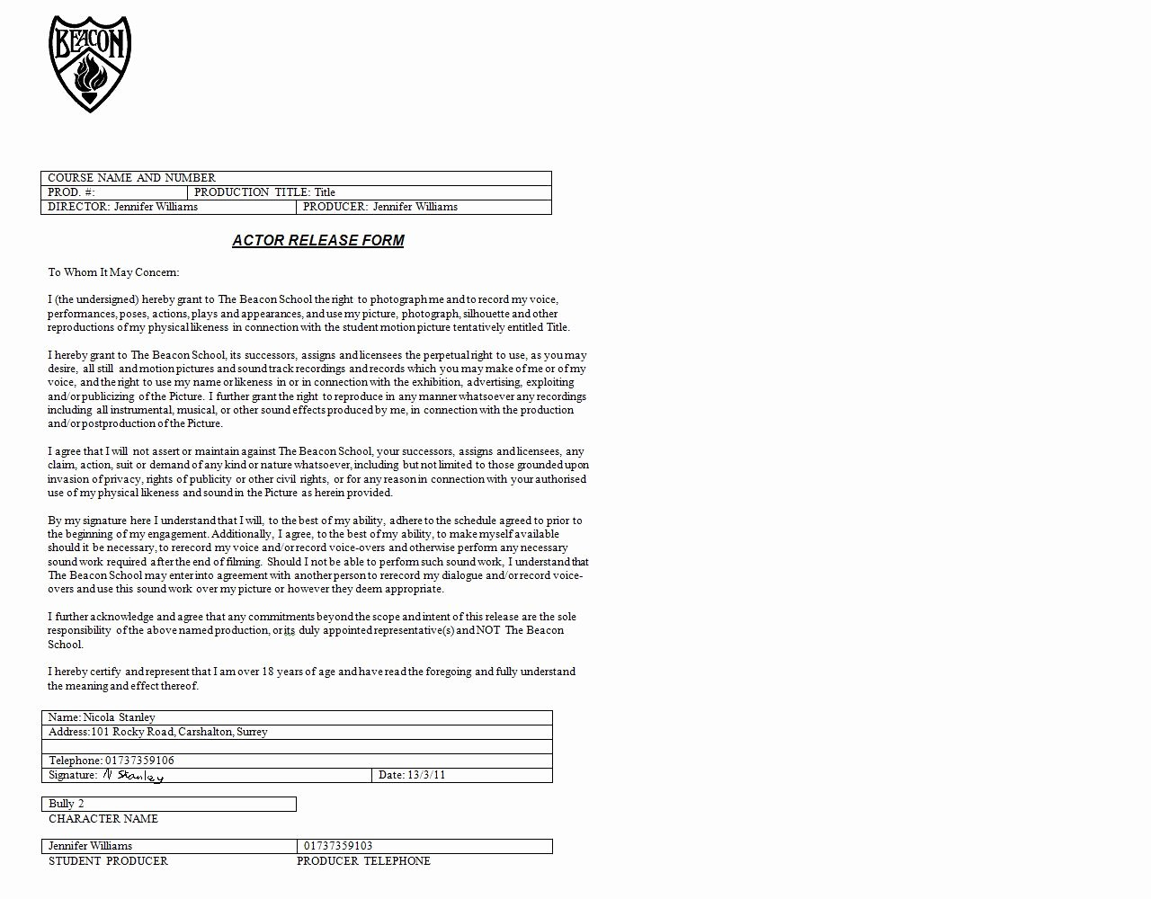 Actor Release form Template Luxury Pre Production Actor Release forms