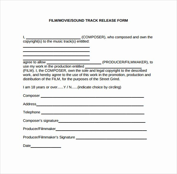 Actor Release form Template Luxury Sample Release form 9 Download Documents In Pdf