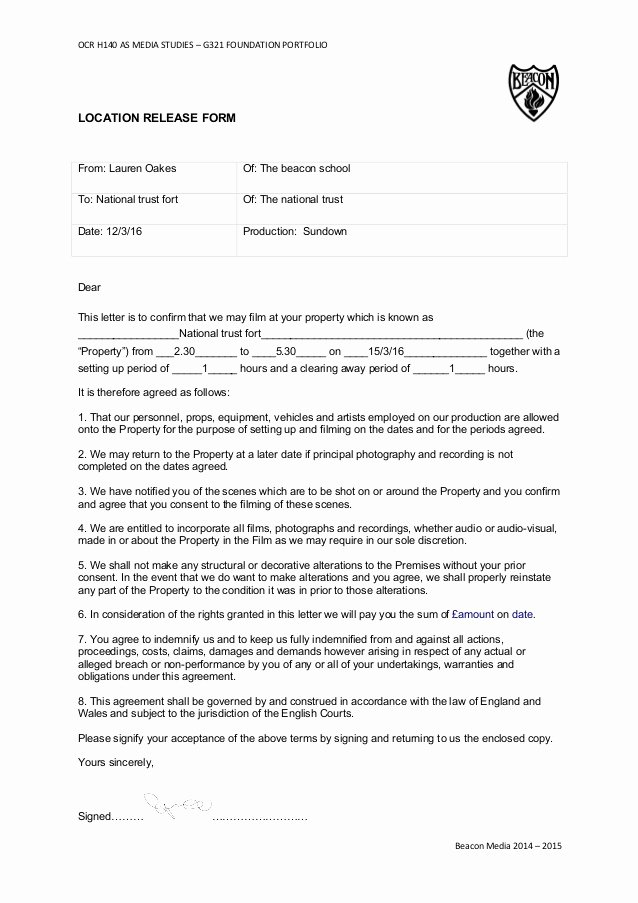 Actor Release form Template New as Location Agreement form