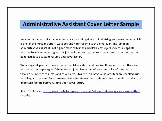 Administrative assistant Cover Letter Template Beautiful Cover Letter for Administrative assistant